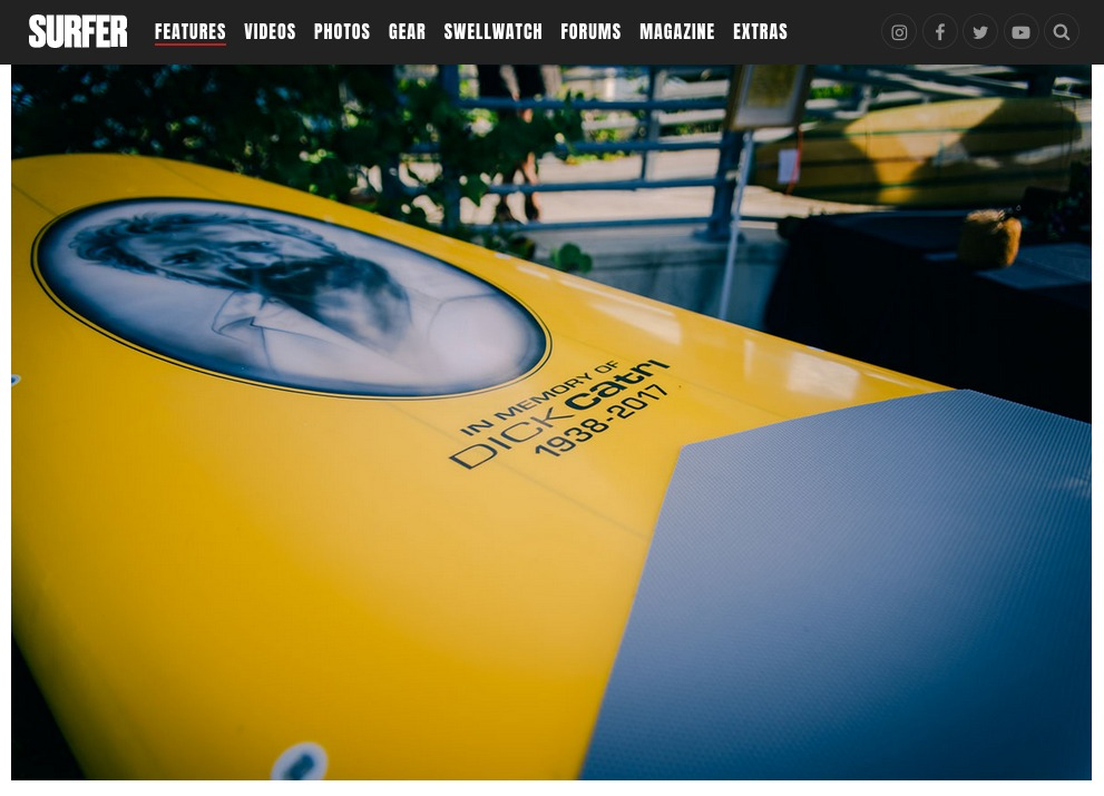 Nice little write up from Surfer.com on Dick Catri's paddle out - Ricky Carroll Surfboards