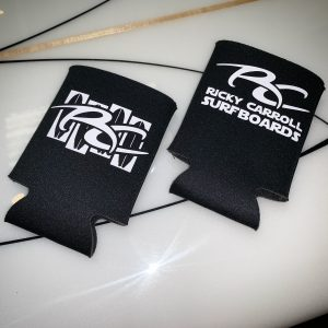 Black Ricky Carroll Surfboards Flag Koozie
