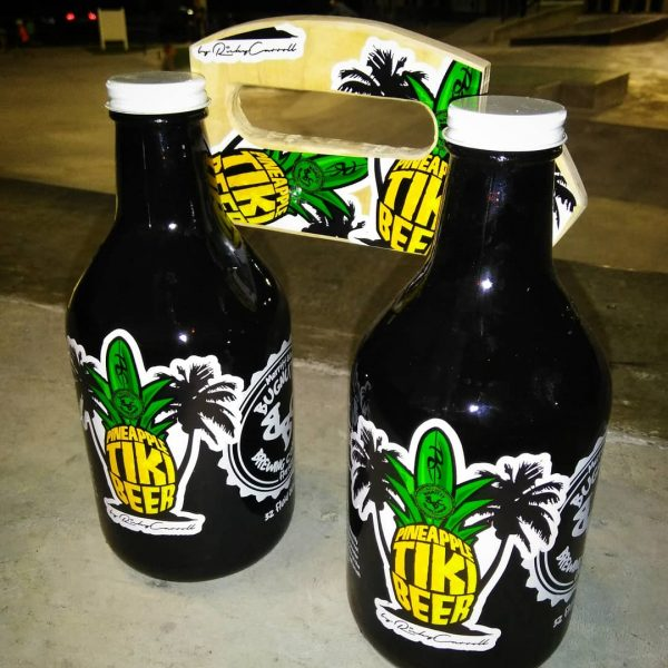 Ricky Carroll Tiki Beer Growler Carrier 002 made from Old Skateboards