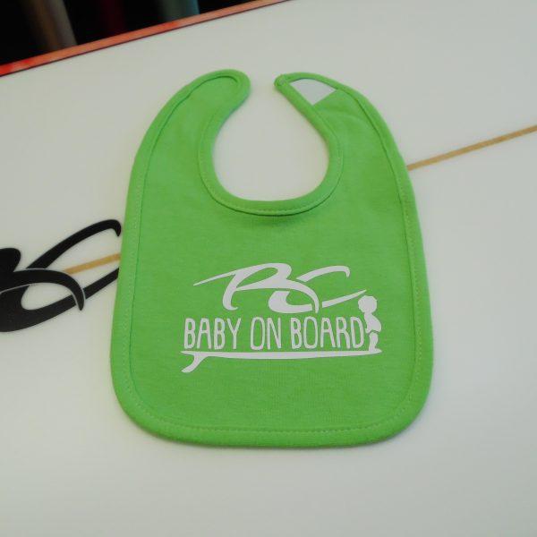 Ricky Carroll Surfboards Baby on Board Boys Avocado Green Bib