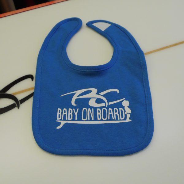 Ricky Carroll Surfboards Baby on Board Boys Blue Bib