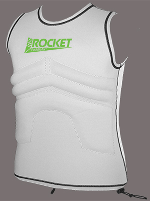 The Rib Rocket Lycra/Neoprene Tropic White/Gray Vest #RR-200WH